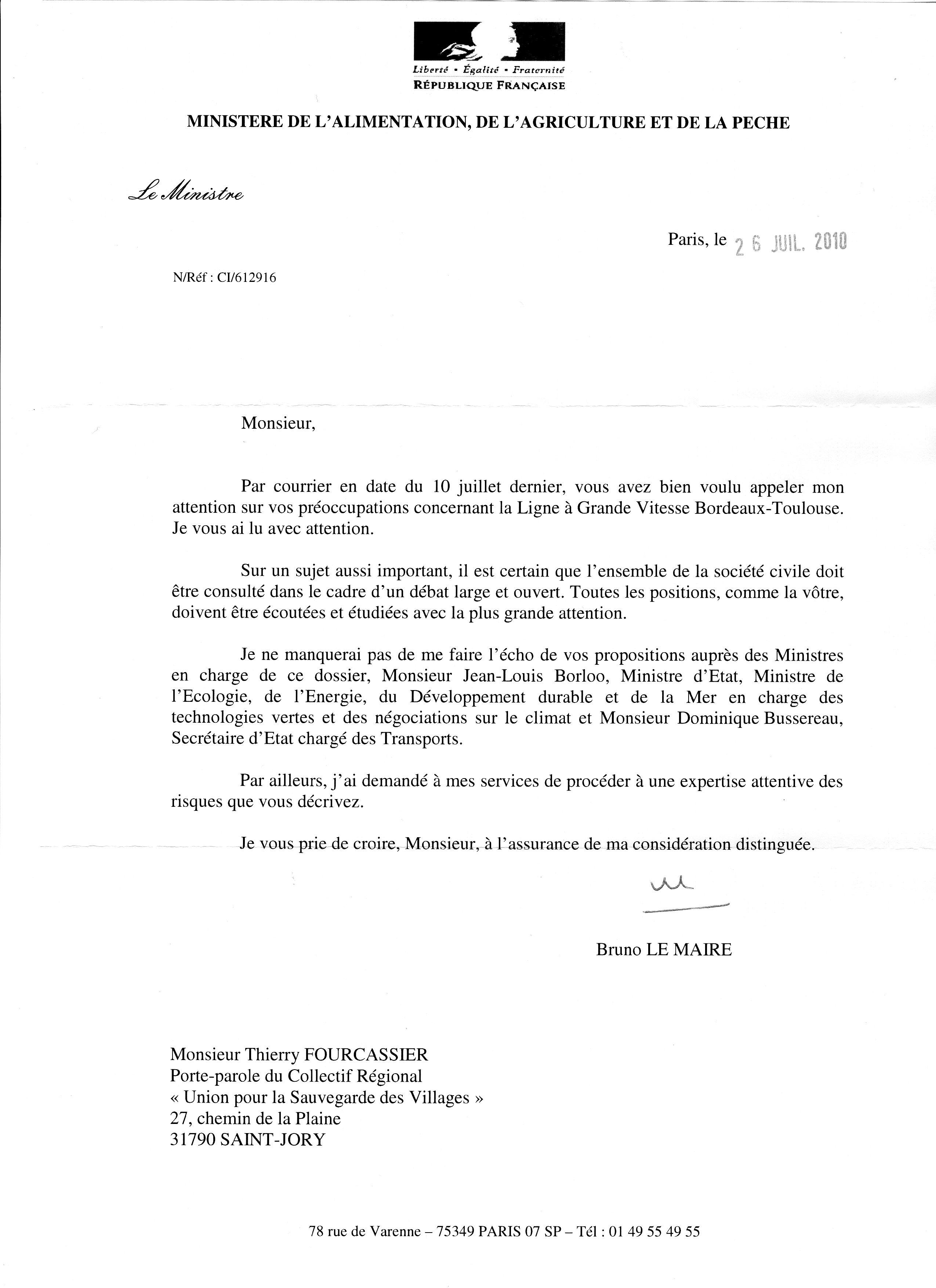Réponse du ministre de l'agriculture à l'USV dans LGV bordeaux toulouse 20100727reponseusvministreagriculture